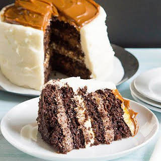 Chocolate Stout Cake with Caramel Marshmallow Cream Frosting.