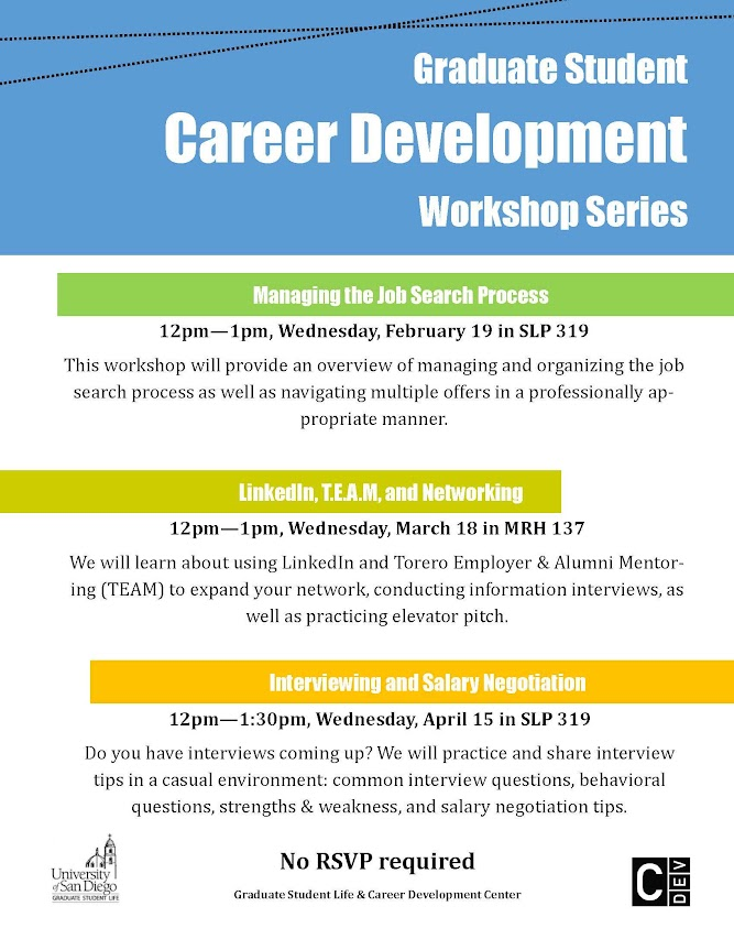 GSL & CDC Career Development Workshop: Managing the Job Search Process, Wednesday, February 19 at 12-1pm in SLP 319
