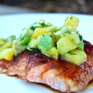 Sweet & Spicy Salmon with Pineapple Avacado Salsa.