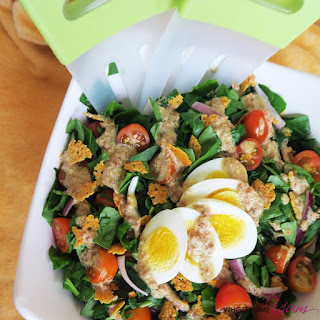 Bacon Dijon Spinach Salad with Cheddar Crisps (Low Carb, Gluten-free).
