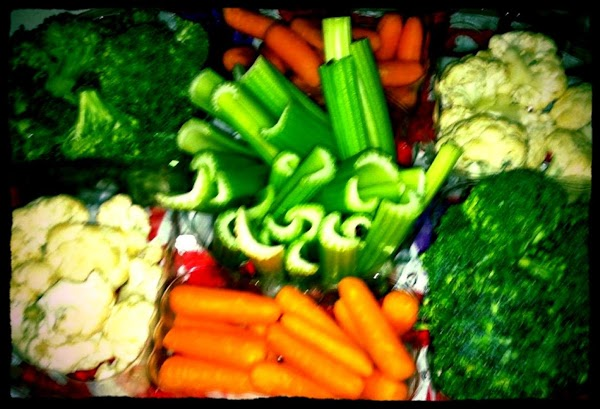 Place Carrots, Broccoli and Cauliflower florets in a serving dish.  *** You can use other...
