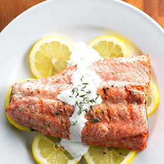 Grilled Salmon with Thyme Cream Sauce.