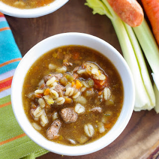 Beef Barley Soup with Filet Mignon.