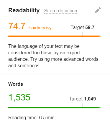 It will show the language used and the recommend amount of words- content writing for beginners