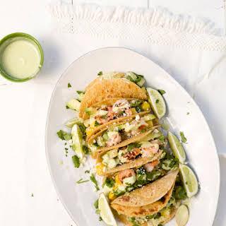 Cucumber & Pineapple Shrimp Tacos.