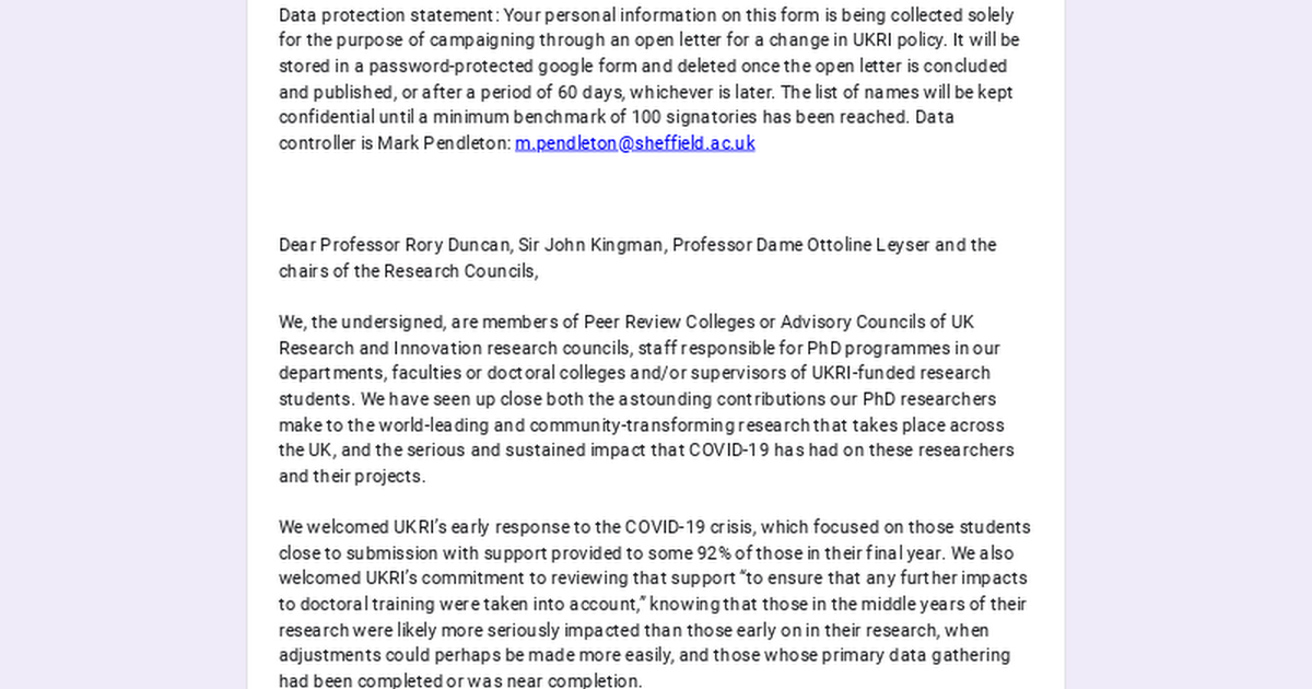 Open Letter to UKRI re: PhD Studentships and COVID-19
