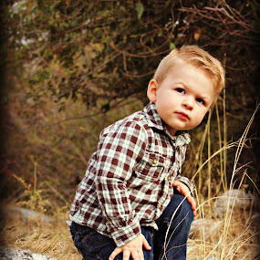 Little GQ model by Debbie Sodeman-Roelle - Babies & Children Children Candids ( washington, wenatchee, t4i, grass, autumn, fall, trees, candid, baby, grandson, toddler )