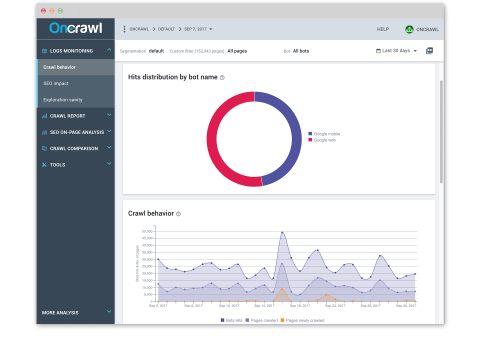 OnCrawl Log Analyser screenshot