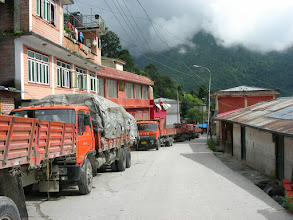 Photo: Truck congestion in Zangmu, because of a landslide north of the town. The road was closed for 2-3 days.