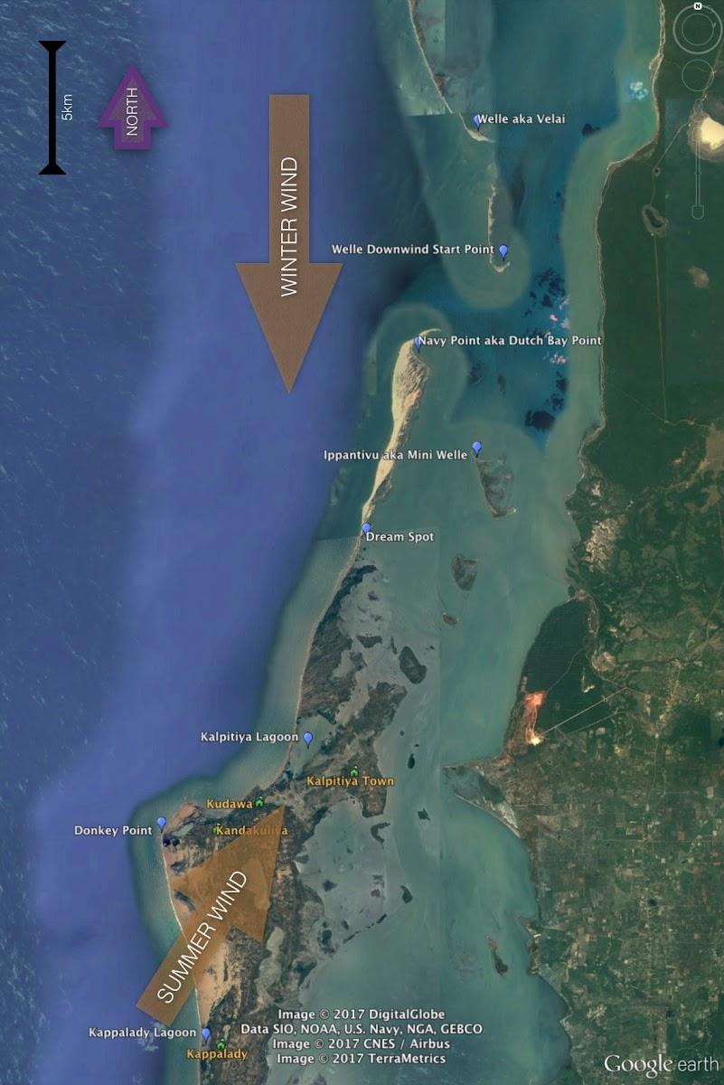 Sri. Lanka Kalpitiya Kiteboarding. Kalpitiya Kite Spots Map.