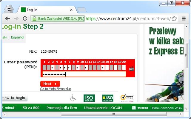 Regular password field for BZWBK24