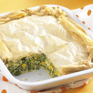Phyllo Pie with Spinach, Corn and Feta.