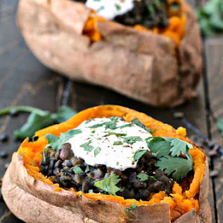 Curried Coconut Lentil Stuffed Sweet Potato Bowls Recipe