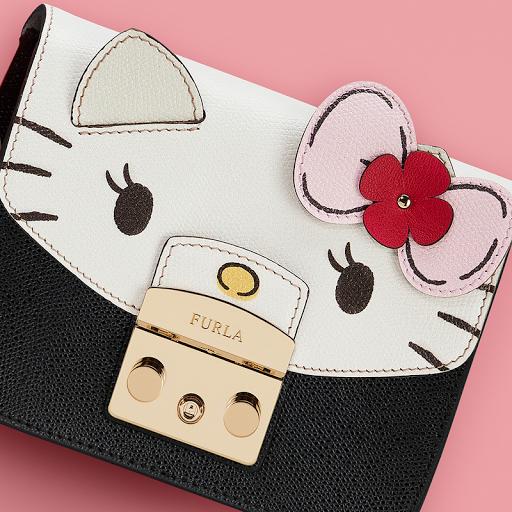 Furla x Hello Kitty Black & White Crossbody Purse