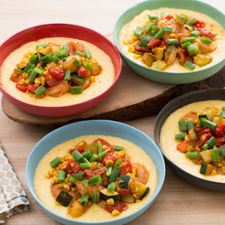 Smoky Shrimp & Creamy Cheddar Grits with Corn, Zucchini & Cherry Tomatoes.