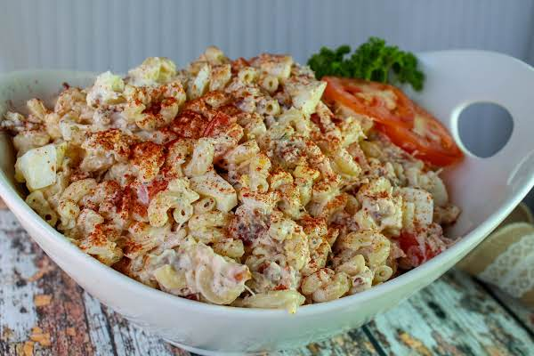 Chicken And Macaroni Salad In A Serving Bowl.