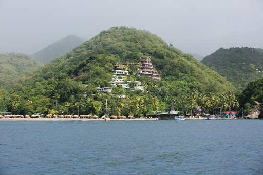 st-lucia-resortsb.jpg - Two resorts poised on a hillside along the coast of St. Lucia.