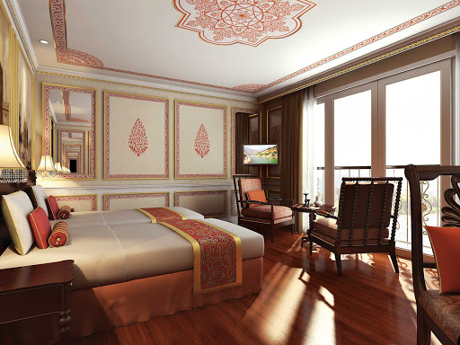 "Ganges-Voyager-II-colonial-suite.jpg - The sumptuous Colonial Suite on Ganges Voyager II, which sails India's ""Golden Triangle & the Sacred Ganges"" itinerary."