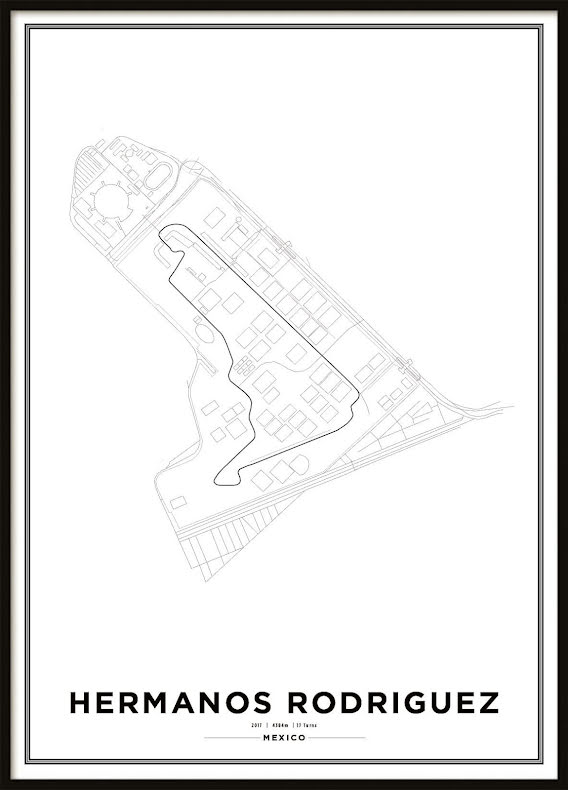 Poster, Autódromo Hermanos Rodríguez Formula 1 Print Vit