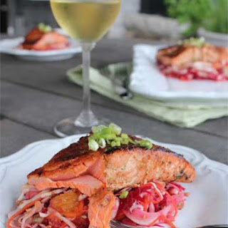 Ginger-Soy Glazed Salmon with Asian Beet Slaw