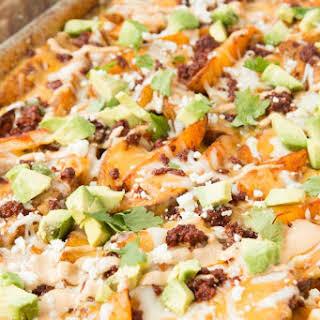 Chorizo Loaded Cheesy Potatoes.