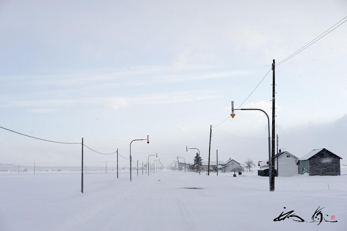 果てしなく続く白い道@北竜町共栄地区