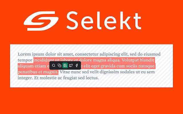Selekt - One click actions for text selection