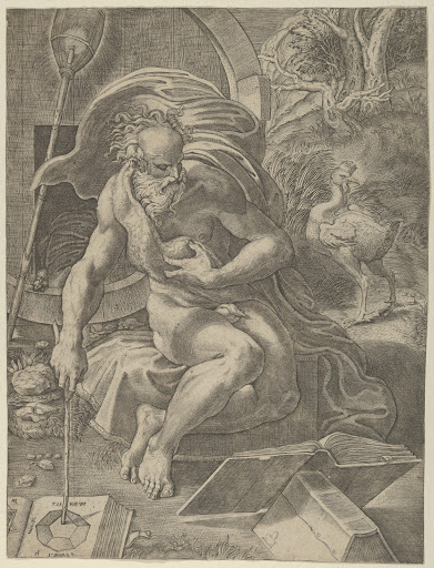 Diogenes seated with his barrel behind him, and reading a book while holding a stick that rests on a geometry book to his right