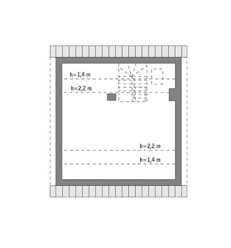 Niezawodny - wariant III - M236c - Rzut poddasza do indywidualnej adaptacji (38,4 m2 powierzchni użytkowej)