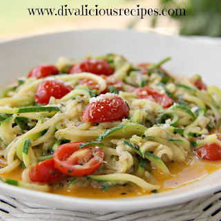 Garlic Parmesan Zucchini Noodles & Tomato