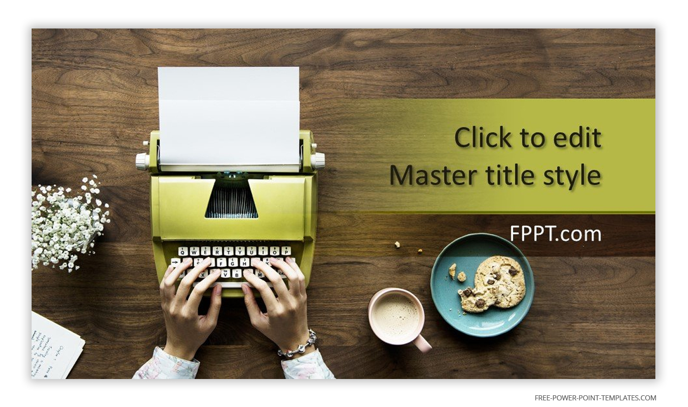 A green typewriter is the main focal point of this introduction slide.
