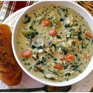 Cream of Turkey Wild Rice & Spinach Soup.