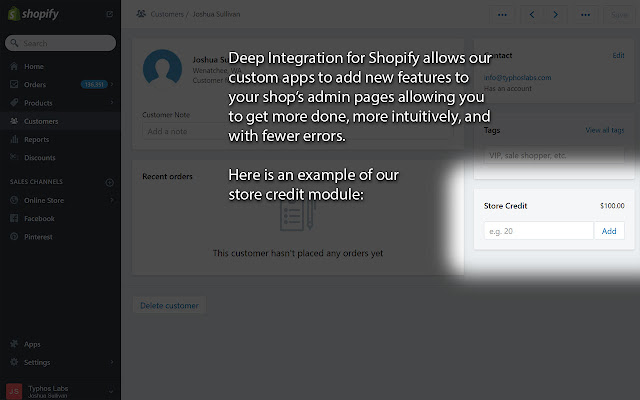 Deep Integration for Shopify
