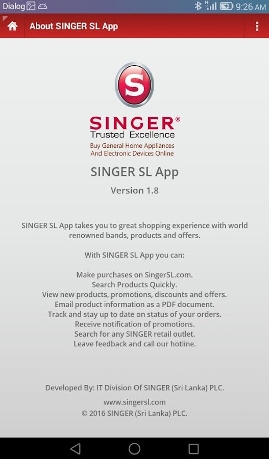 SINGER SL- screenshot