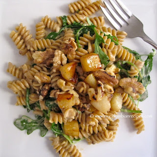 Whole Wheat Pasta with Pears, Walnuts and Gorgonzola Cheese.