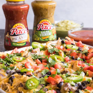 Sheet Pan Ultimate Nachos with Slow Cooker Salsa Verde Ranch Chicken.