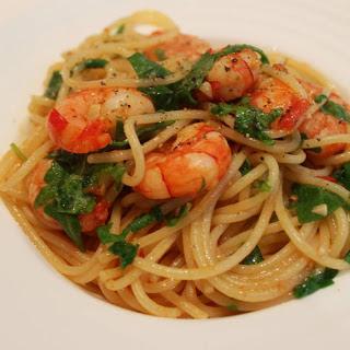 Prawns And Spinach Spaghetti