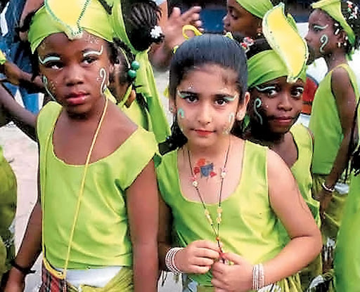 Montserrat-culture-children - St. Patrick's Day celebration on Montserrat in the Caribbean.