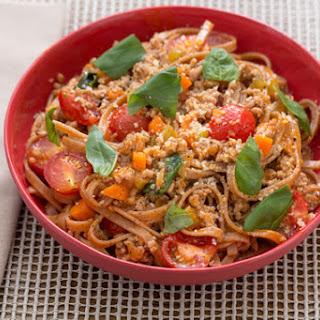 Late Summer Pork Bolognese with Whole Grain Linguine & Cherry Tomatoes