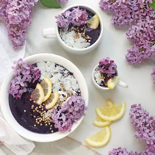 Blueberry Citrus Lilac Fairy Smoothie Bowls.