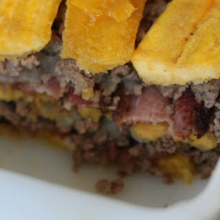 Beef, Bacon and Plantain Casserole.