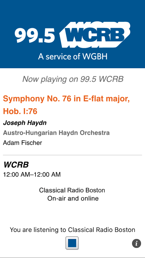 Classical Radio 99.5 WCRB- screenshot