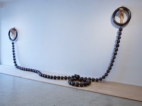 Photo: Nathan Lynch 40 Feet of Shiny Balls, 2014 Glazed ceramic, steel cable, felt 480 x 6 in. (height variable) Courtesy of: Rena Bransten Gallery