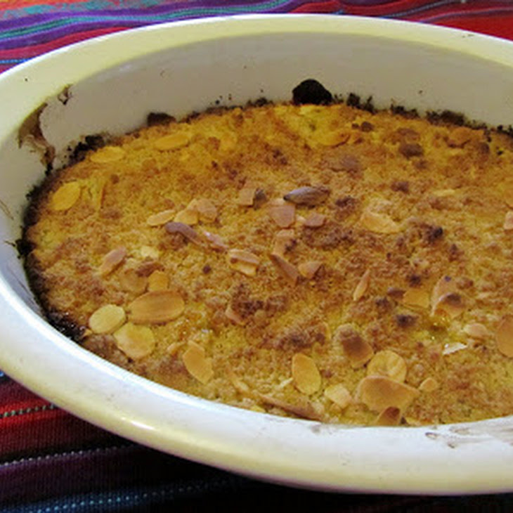 Peach, Passion Fruit, and Almond Crumble