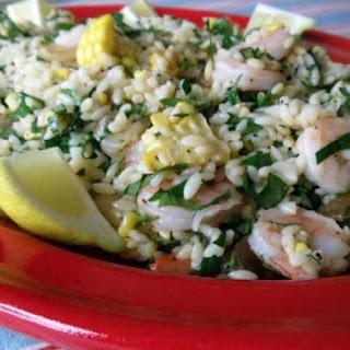 Roasted Shrimp, Corn, Orzo, Lemon, And Parsley Salad