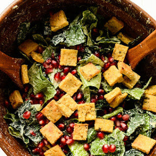 Holiday Caesar Salad with Hemp Seed Dressing & Protein Croutons (vegan, gluten-free).