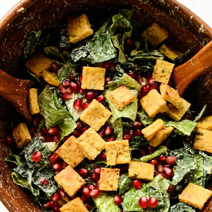 Holiday Caesar Salad with Hemp Seed Dressing & Protein Croutons (vegan, gluten-free)