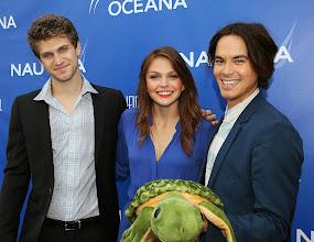 Photo: Co-hosts Keegan Allen, Aimee Teegarden and Tyler Blackburncelebrates World Oceans Day at Nautica's Oceana Beach House