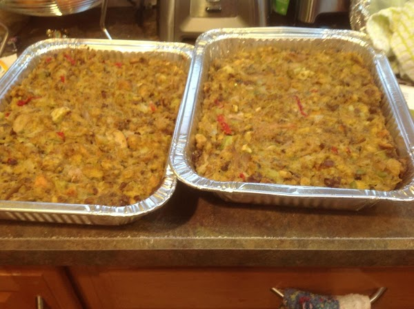 Pour stuffing mixture into the 2 prepared casserole dishes. Place in preheated 350 degree...