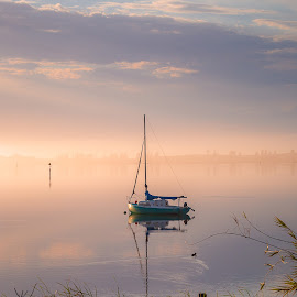 Stillness yacht by Nicole Rix - Transportation Boats ( outdoor, yacht, still, river, clouds, water, boat, mist, fog )